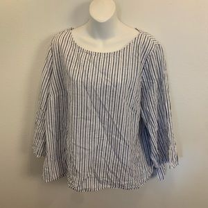 Liz Claiborne Blue/White Striped Top Linen/Cotton